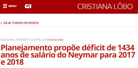 Como o valor do salário do Neymar por minuto pode nos ajudar a entender melhor o noticiário político e econômico